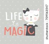 cute cat vector.valentines...   Shutterstock .eps vector #709563547