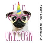 Stock photo illustration of a hand drawn funny fashionable pug and unicorn head portrait horse sticker patch 709563559