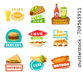 fast food and meals icons for... | Shutterstock .eps vector #709565911