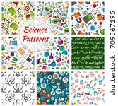 science seamless patterns.... | Shutterstock .eps vector #709567195