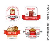 fast food icons of burrito... | Shutterstock .eps vector #709567219