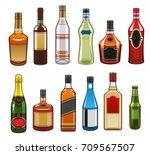 alcohol drinks bottles icons.... | Shutterstock .eps vector #709567507