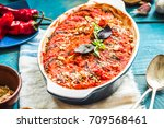 tasty vegetarian ratatouille... | Shutterstock . vector #709568461