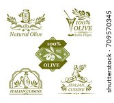 olive oil icons set of green... | Shutterstock .eps vector #709570345