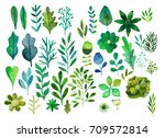 watercolor texture with flowers ... | Shutterstock . vector #709572814