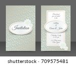 vintage wedding invitation... | Shutterstock .eps vector #709575481