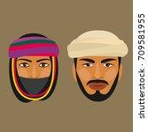 bedouins. man and woman. vector ...   Shutterstock .eps vector #709581955