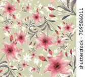 seamless watercolor pattern... | Shutterstock . vector #709586011