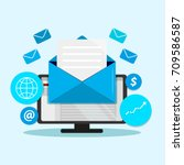 email marketing campaign ... | Shutterstock .eps vector #709586587