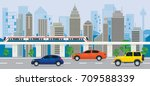 city building with cars on the... | Shutterstock .eps vector #709588339