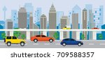 city building with cars on the... | Shutterstock .eps vector #709588357