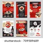 japanese cuisine sushi bar or... | Shutterstock .eps vector #709589689