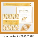luxury wedding invitation... | Shutterstock .eps vector #709589905