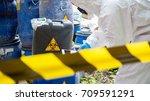 asian scientist wear chemical... | Shutterstock . vector #709591291