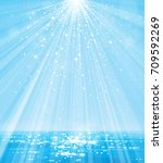 vector blue sea  and  sun shine ... | Shutterstock .eps vector #709592269