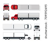 trailer truck red and white ... | Shutterstock .eps vector #709592695