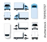 mini truck blue and white ... | Shutterstock .eps vector #709592707