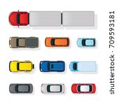 cars various type top or above... | Shutterstock .eps vector #709593181