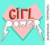girl power. cute card with... | Shutterstock .eps vector #709594651