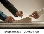 business teamwork concept with... | Shutterstock . vector #709594735