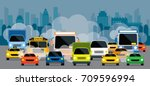 vehicles on road with traffic... | Shutterstock .eps vector #709596994
