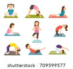 child yoga poster with kids... | Shutterstock .eps vector #709599577