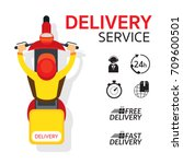 delivery boy ride scooter... | Shutterstock .eps vector #709600501