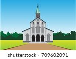 christ church cartoon vector | Shutterstock .eps vector #709602091