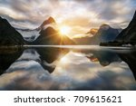 beautiful sunrise in milford... | Shutterstock . vector #709615621
