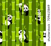 cute and funny pandas in the... | Shutterstock .eps vector #709615849
