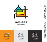 logos gallery furniture art set | Shutterstock .eps vector #709615951