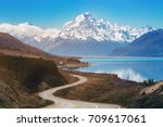 road to mount cook  the highest ... | Shutterstock . vector #709617061