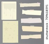 set of notebook paper sheets  ... | Shutterstock .eps vector #709618591