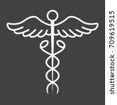 caduceus line icon  medicine... | Shutterstock .eps vector #709619515