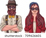 couple of hipster people... | Shutterstock .eps vector #709626601