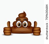 poo emoticon holding thumbs up  ... | Shutterstock .eps vector #709630684