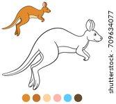 color me  kangaroo. cute... | Shutterstock .eps vector #709634077