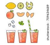 peach lemonade and ingredients... | Shutterstock .eps vector #709634689