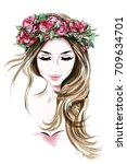 hand drawn beautiful young... | Shutterstock .eps vector #709634701