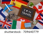 travel time   blackboard with... | Shutterstock . vector #709640779