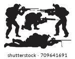 vector silhouettes of soldiers... | Shutterstock .eps vector #709641691