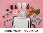 doctor workplace with blank... | Shutterstock . vector #709646665