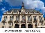 Small photo of The Saint Denis Town hall at summer day, France.
