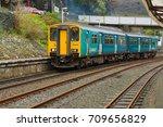 Small photo of Blaenau Ffestiniog Wales UK - September 4 2017: Arriva Trains Wales passenger train Sprinter Class 150/2 diesel multiple unit or DMU departing the station at Blaenau Ffestiniog in Wales
