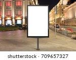 blank street billboard at night ... | Shutterstock . vector #709657327