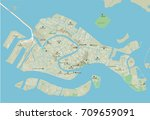 vector city map of venice with... | Shutterstock .eps vector #709659091