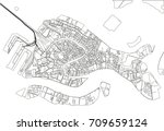 black and white vector city map ... | Shutterstock .eps vector #709659124