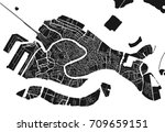 black and white vector city map ... | Shutterstock .eps vector #709659151