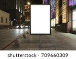 blank street billboard at night ... | Shutterstock . vector #709660309