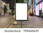 blank street billboard at night ... | Shutterstock . vector #709660639